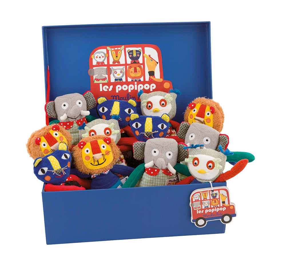 Les Popipop display of 12 small dolls