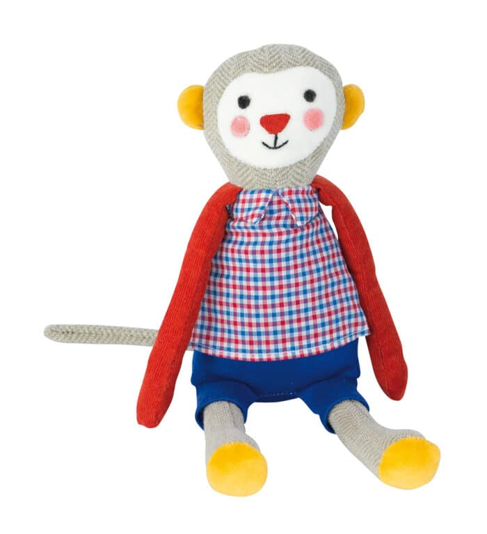 Les Popipop small monkey doll - soft toy with retro clothing