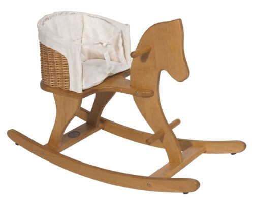 Les Jouets d'hier - Rocking horse with wicker basket