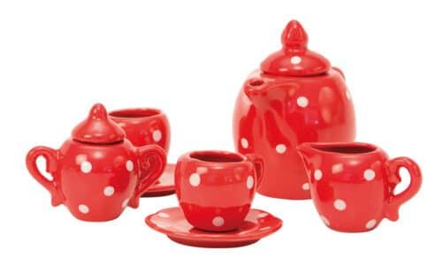 La Grande Famille - Red ceramic tea set in case