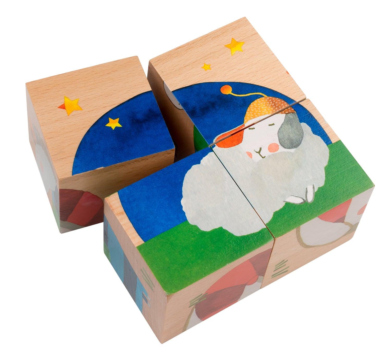 wooden toys, wooden cubes, Zig et Zag, Moulin Roty toys Australia