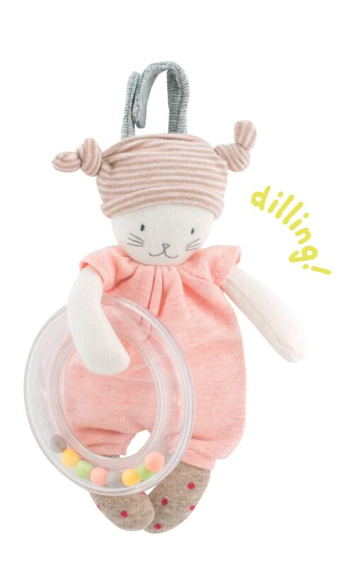 baby ring rattle, pink, les petits dodos - Moulin Roty toys Australia