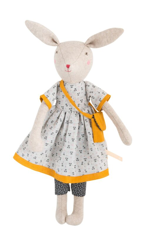 rabbit soft toy in cotton floral dress
