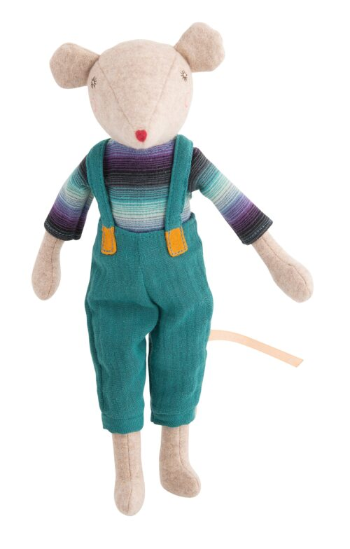 soft toy mouse in overalls