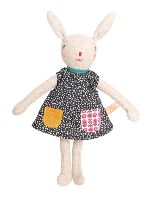 rabbit soft toy in floral cotton dress