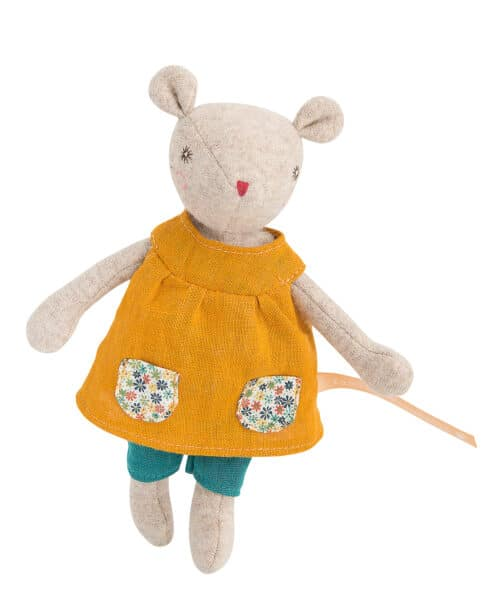 soft toy tiny mouse in yellow dress