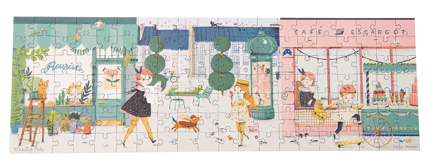 Image of illustrated puzzle featuring a street scape and the Les Parisiennes characters - Moulin Roty 642 541