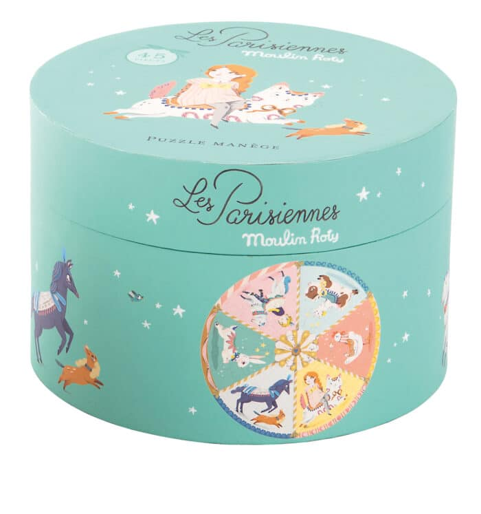 Cylinder shaped box of Les Parisiennes puzzle. The box is decorated with illustrations of the puzzle and other assorted motifs - Moulin Roty 642 542