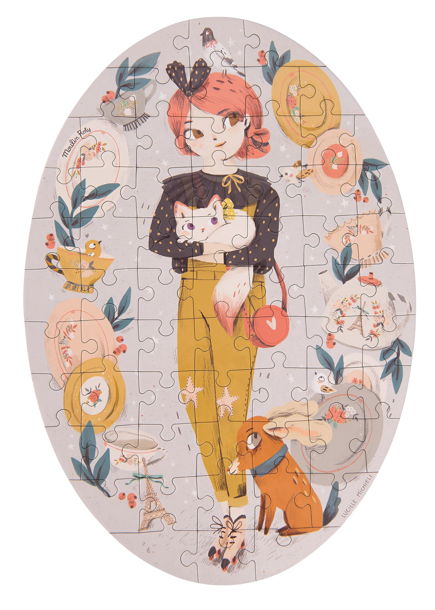 Illustrated 65 piece puzzle of Les Parisiennes doll Constance - Moulin Roty 642 543