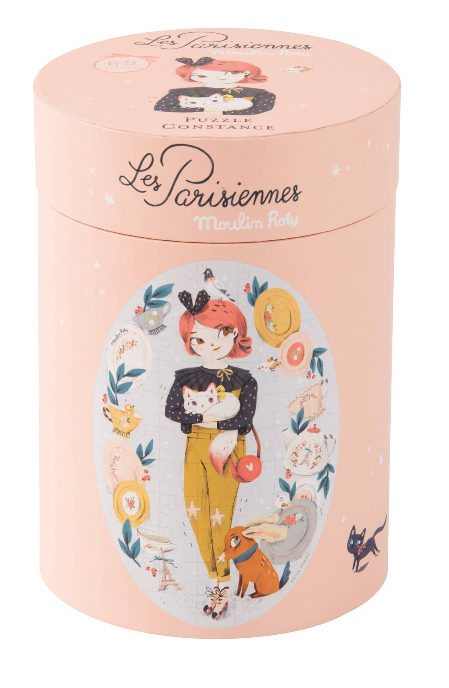 Cylinder shaped box containing illustrated puzzle of Les Parissienes doll, Constance - Moulin Roty 642 543
