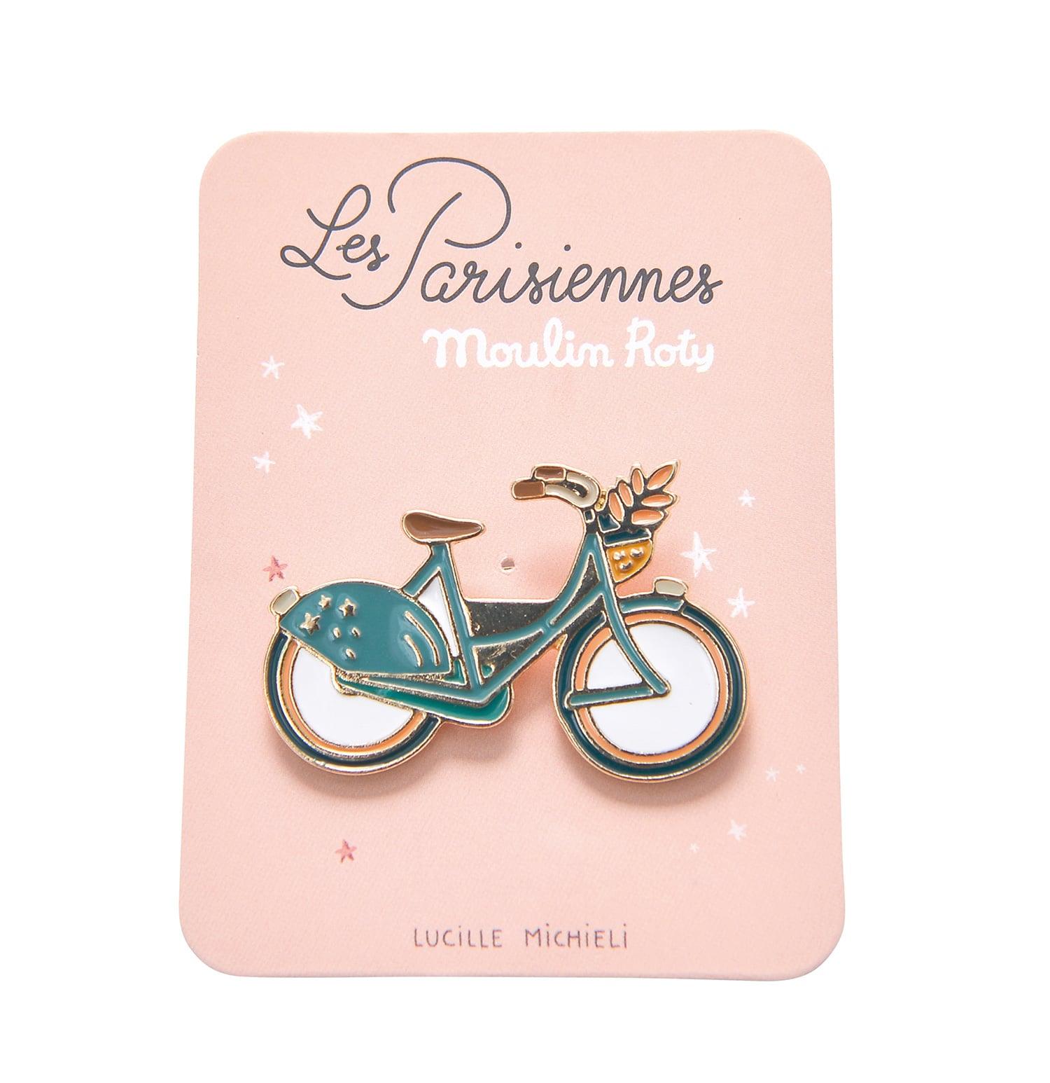 Enamel pin of a blue push bike - Moulin Roty 642 545