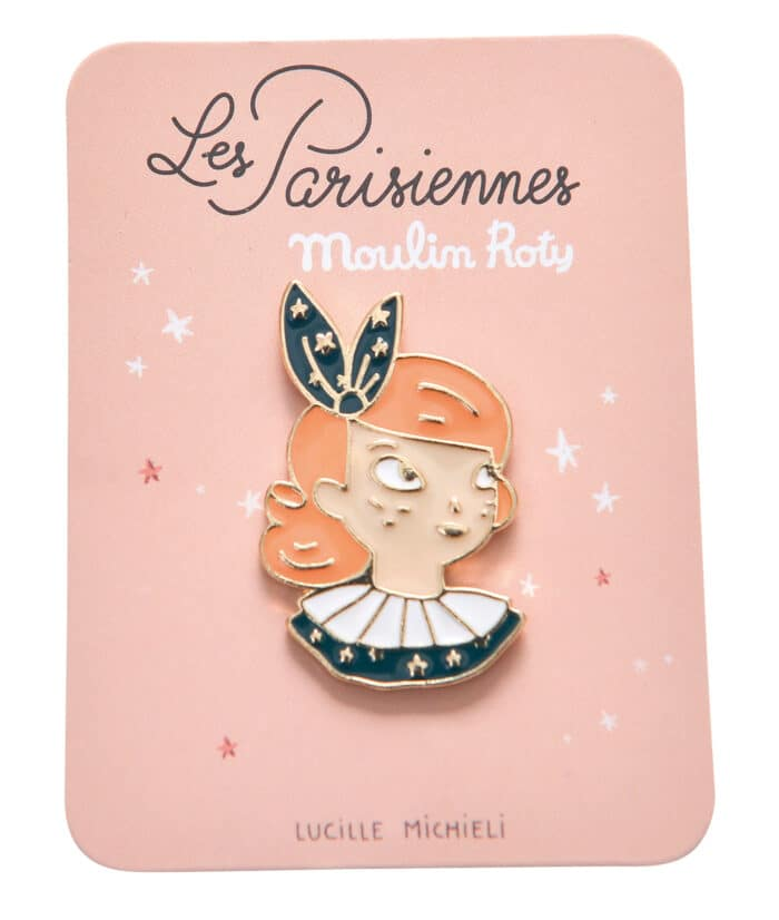 Enamel pin illustration of head ans shoulders of Constance a Les Parisiennes doll - Moulin Roty 642 547