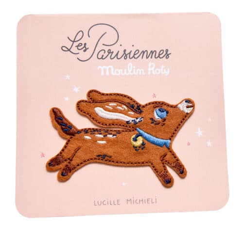 Embroidered iron patch of a brown dog - Moulin Roty 642 549