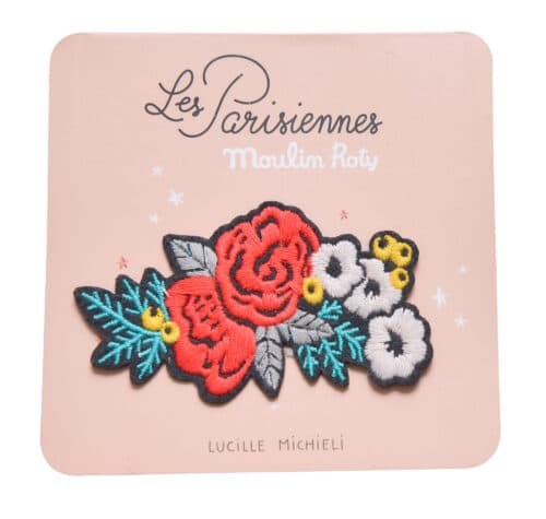 Embroidered iron on patch, floral motif - Moulin Roty 642 550