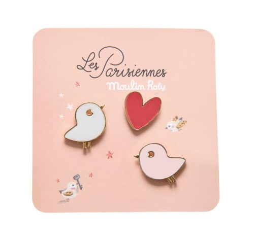 Set of 3 enamel pins, two birds with a love heart - Moulin Roty 642 551