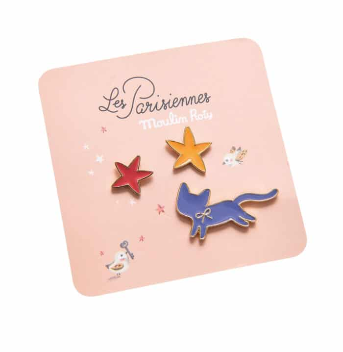 Set of 3 enamel pins, a blue cat with two stars - Moulin Roty 642 552