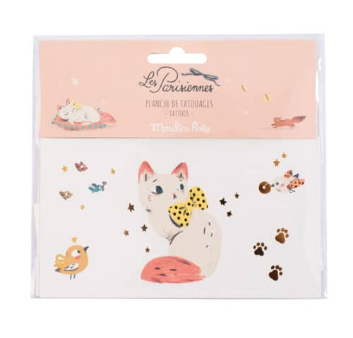 Temporary tattoo of a cat and assorted motifs - Moulin Roty 642 554