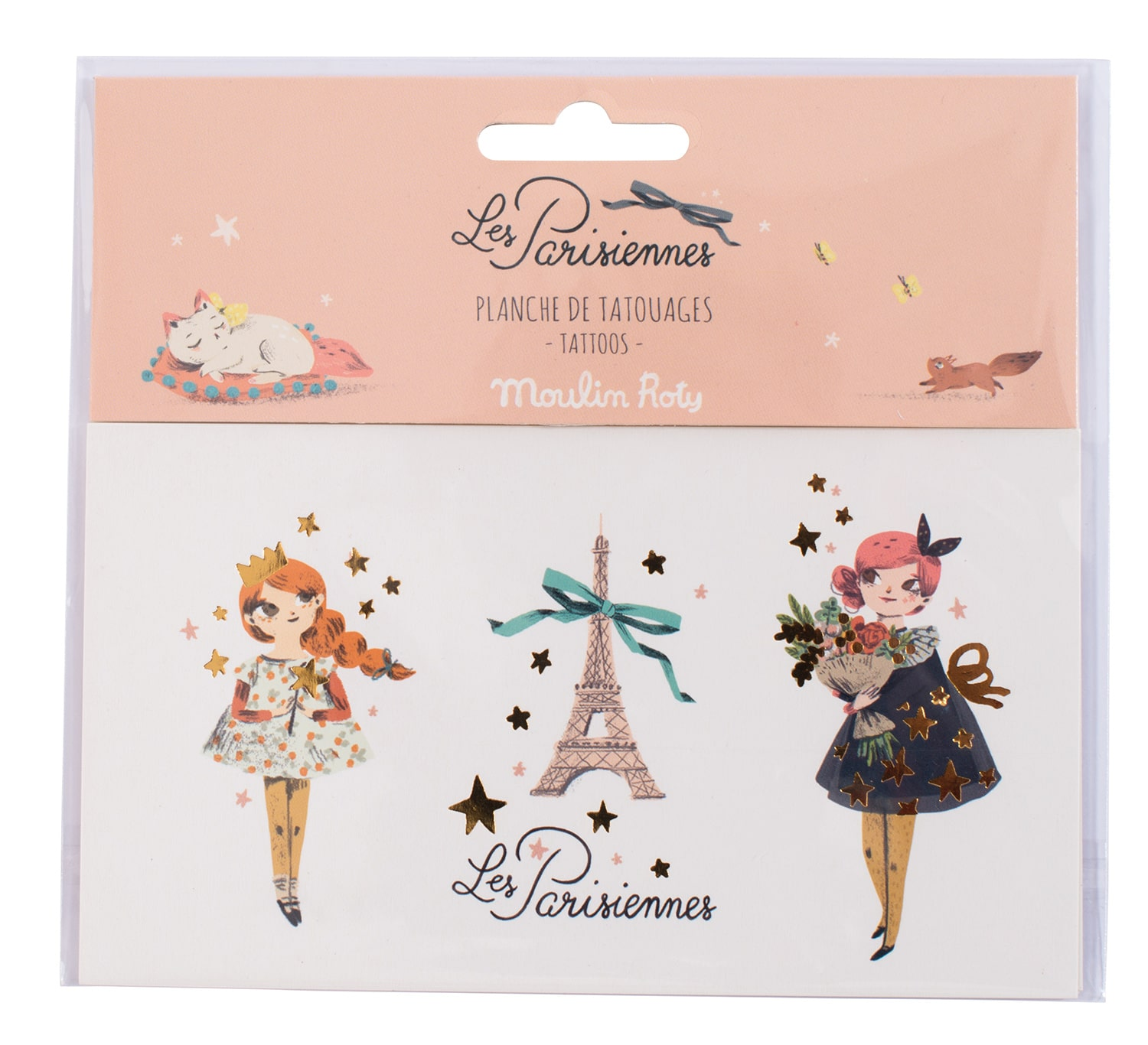 Temporary tattoo's of Les Parisiennes character and the Eiffel tower - Moulin Roty 642 555