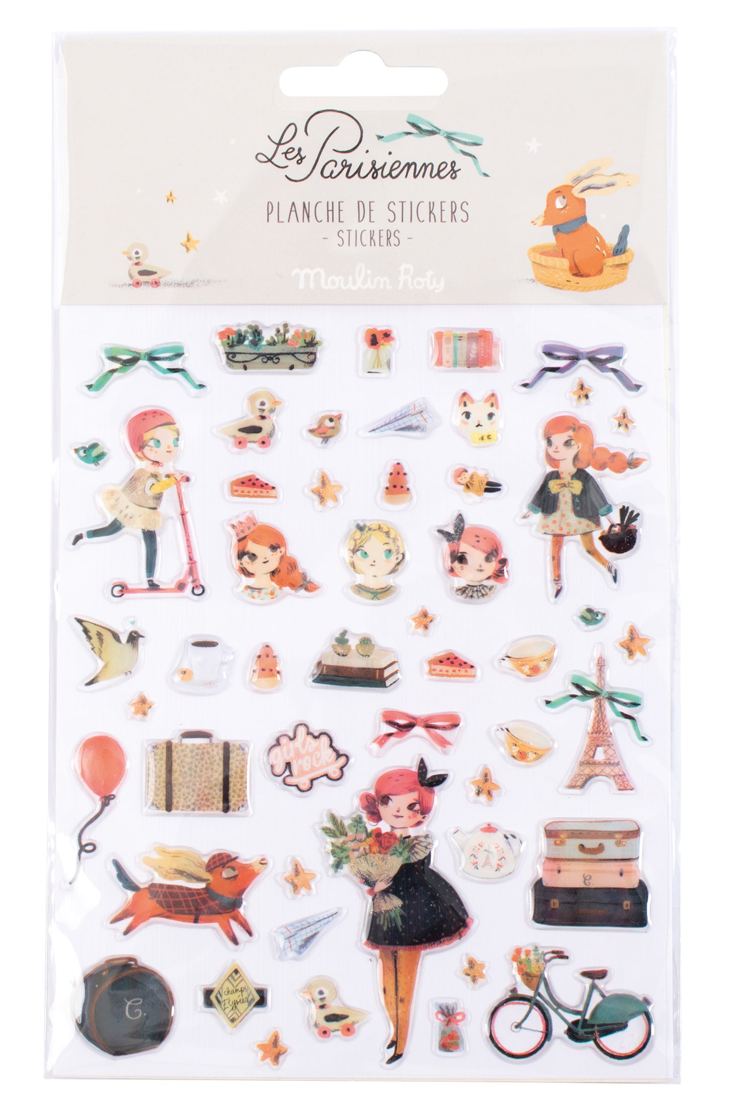Stickers sheet of Les Parisienne dolls and french icons - Moulin Roty 642558