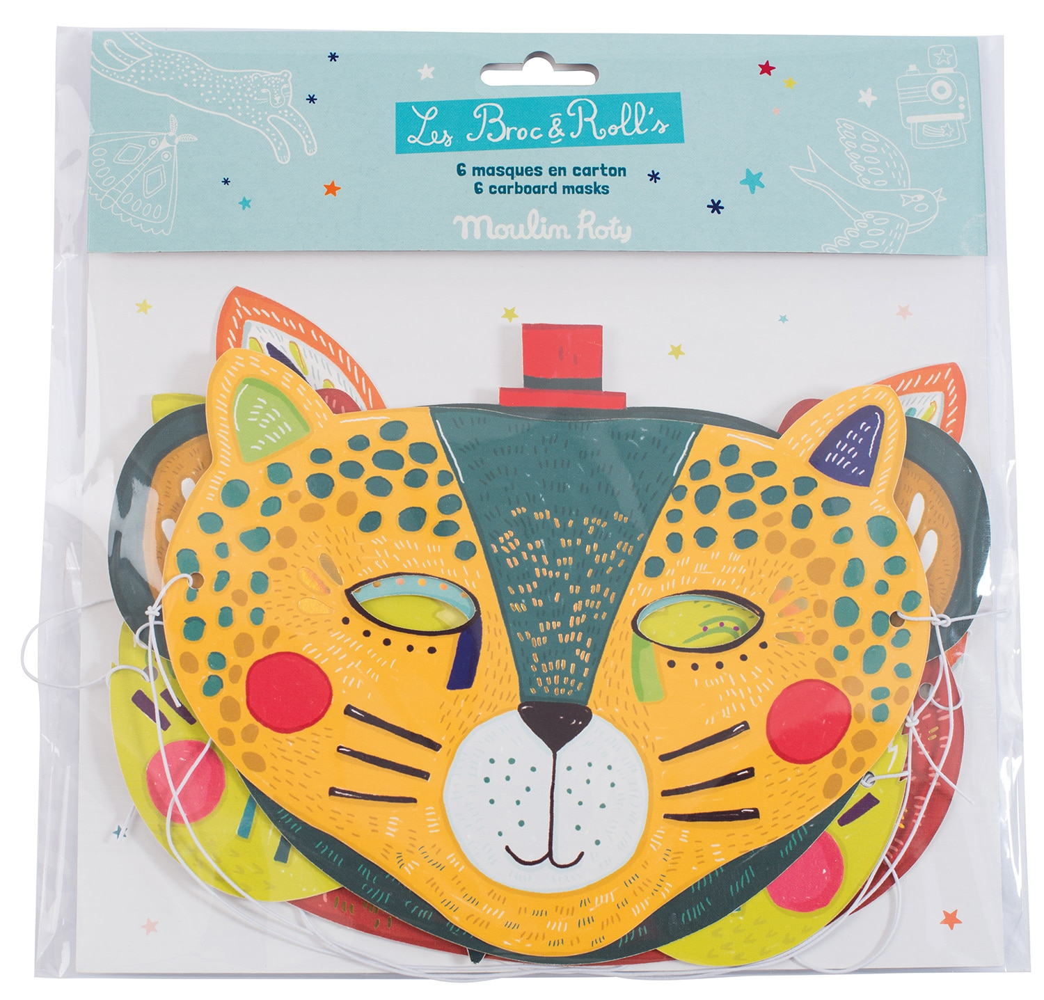 Set of six card face mask, bear, fox, panther, monkey, owl and raccoon. Masks are shades of red, orange, yellow and blue - Moulin Roty 642 775