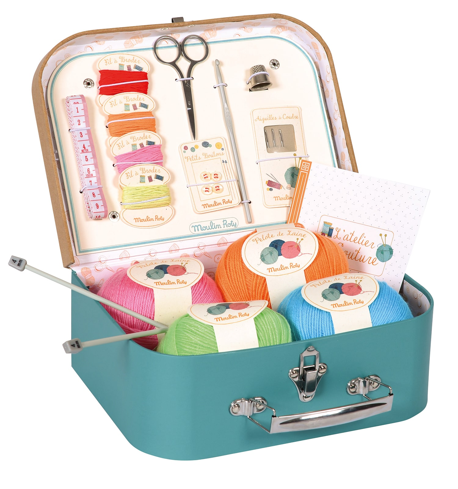 Suitcase of haberdashery equipment, the lid is open to display contents of wool balls, skeins of cotton, scissors, buttons and thimble - Moulin Roty 710 404