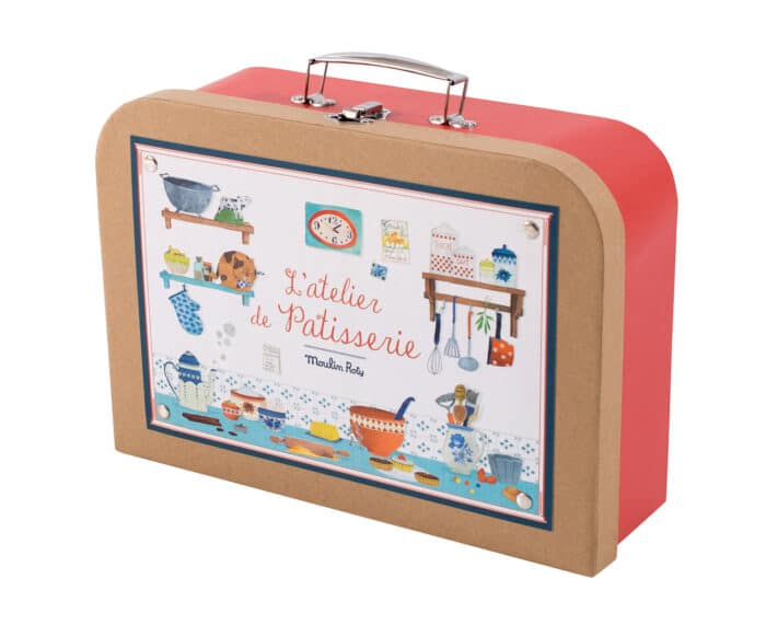 Suitcase style box with toy baking utensils inside - Moulin Roty 710 405