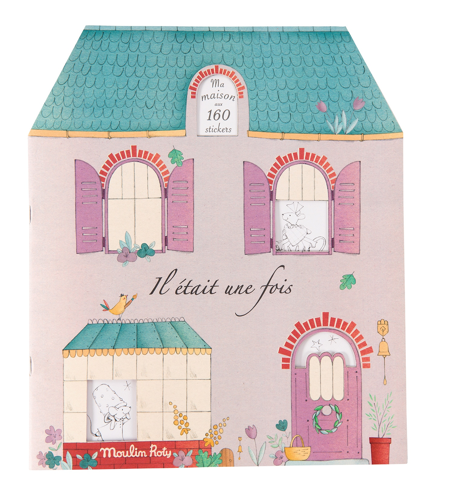 Book in the shape of a house, with 20 pages of stickers - Moulin Roty 711 377