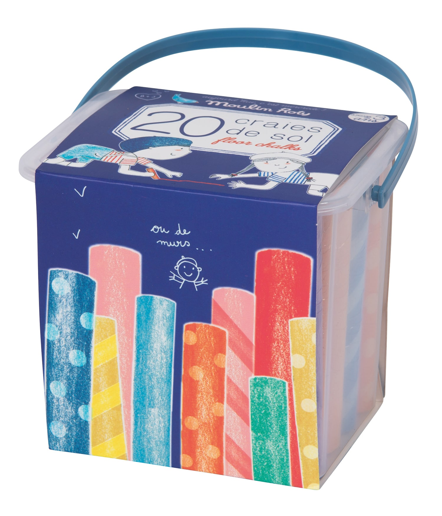 Pack of 20 assorted colour floor chalks, with patterns and marbled sticks. Moulin Roty 713 135