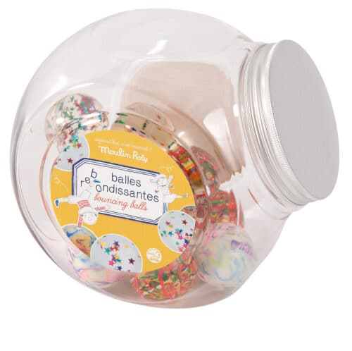Jar of 48 assorted bouncy balls, Moulin Roty - 713 137
