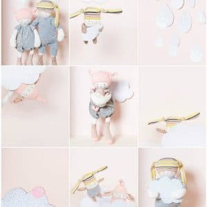 soft pink clouds and petits dodos in grid