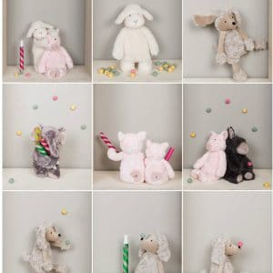 soft bears and toys in grid