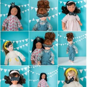 Moulin Roty dolls in grid