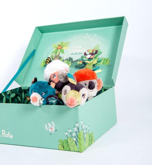 display box of squeaky rattles - wholesale