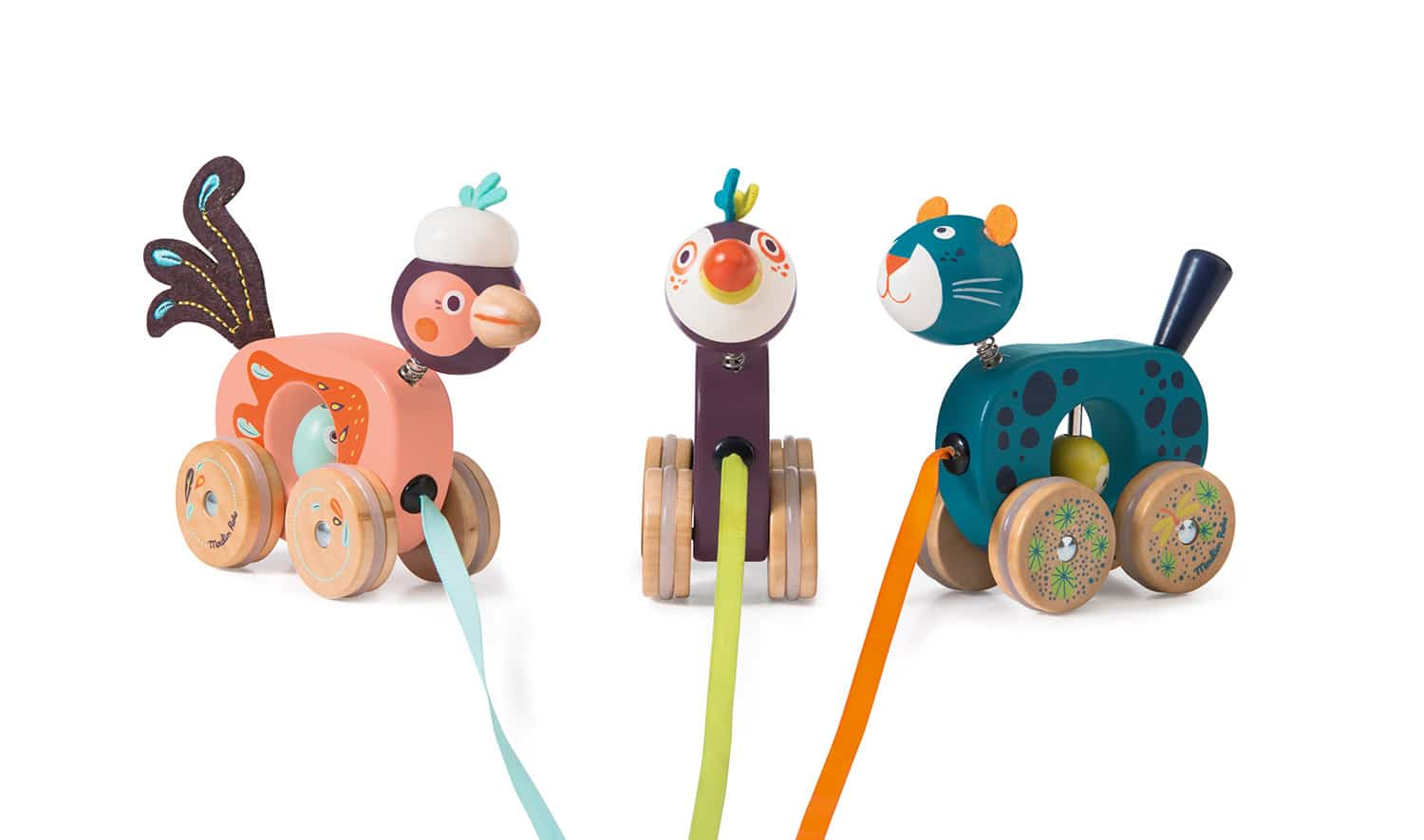 jungle animal wooden pull alongs - wholesale