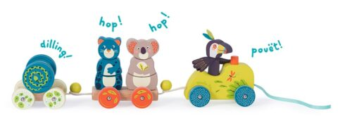 wooden activity train - jungle animals - wholesale