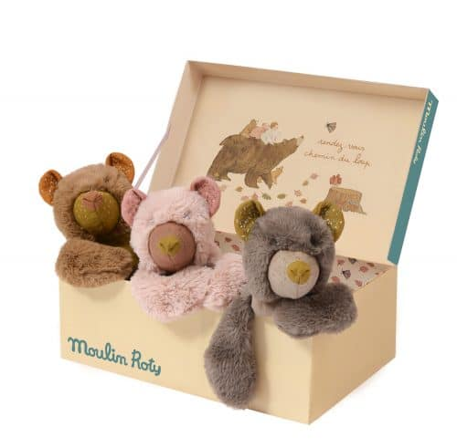 teddy bear display box - bear cubs - moulin roty