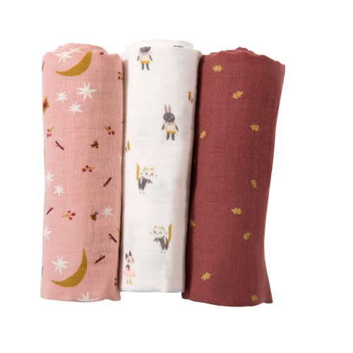 set of 3 muslin squares - apres la pluie - baby bedding